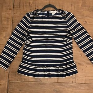 Silk Navy and White Vineyard Vines Blouse